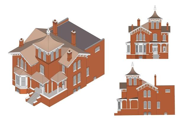 ビクトリア朝様式の古い家。白い背景のイラスト。さまざまな側面からの種。