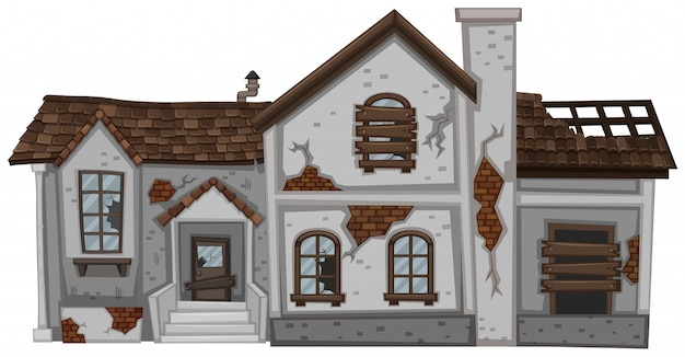 Old house with brown roof isolated