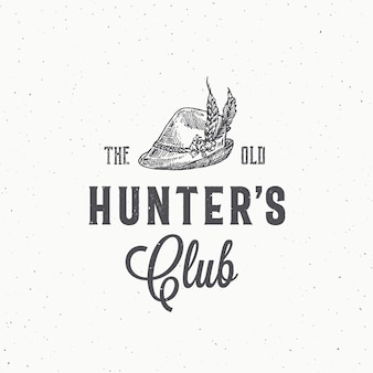 Old hunters club abstract  sign, symbol or logo template.