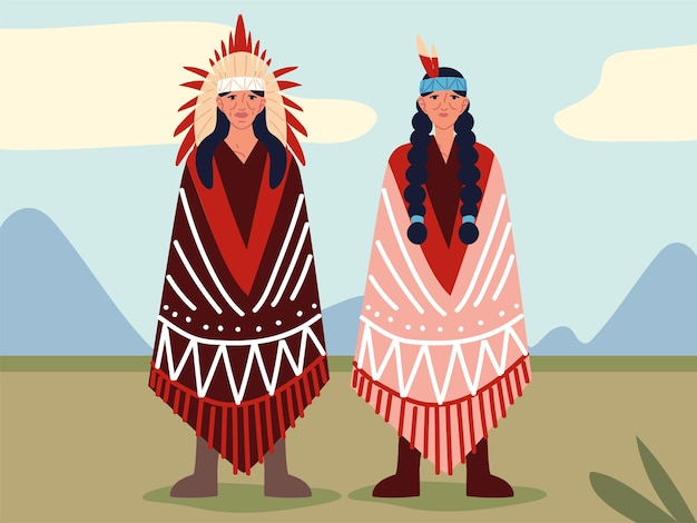 Old indigenous woman and man