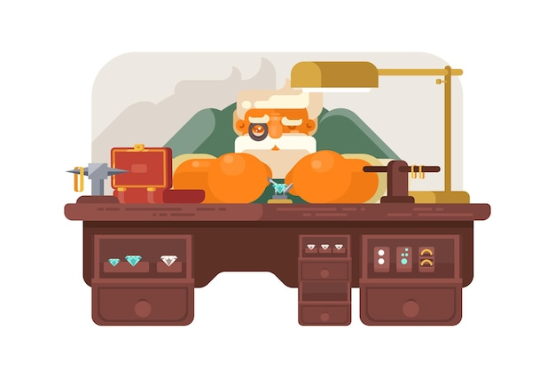 Old jeweler at workplace illustration