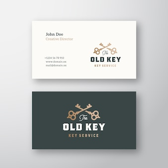 The old key abstract sign or logo and business card
