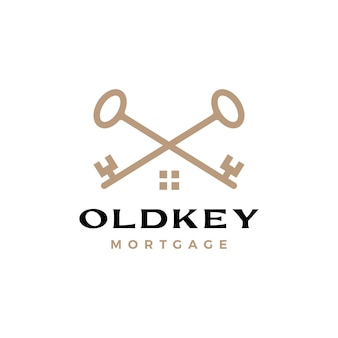 Old key cross house home mortgage real estate logo