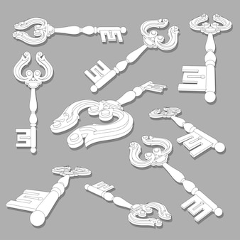 Old keys collection isolated illustration