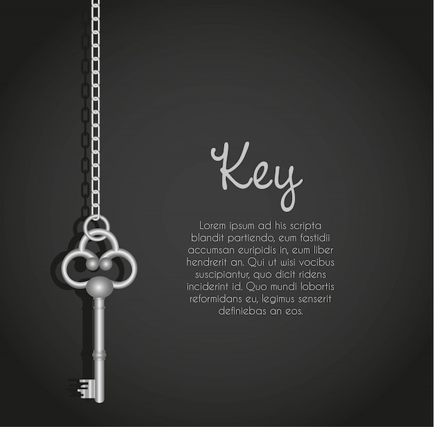 Old keys with link chain black with text