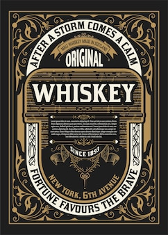 Old  label design for whiskey and wine label