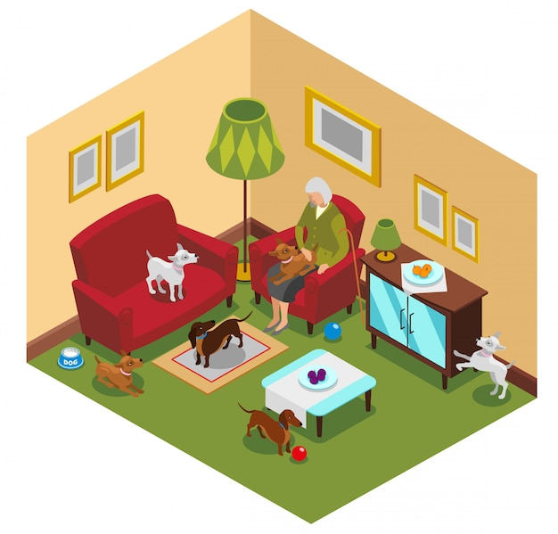 Old lady dogs isometric composition