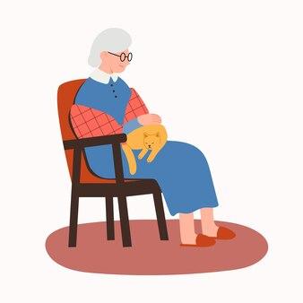 노부인은 만화 플랫 스타일의 고양이 벡터 삽화가 있는 의자에 앉아 있다