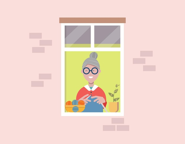 창가에 앉아 뜨개질을 하고 밖을 바라보는 할머니. 이웃. 자가 격리, 격리 개념입니다. 휴양. 평면 벡터 일러스트 레이 션, 클립 아트입니다. 디자인 요소.