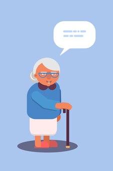 텍스트 구름 말풍선이 있는 안경 만화 캐릭터에 지팡이를 짚고 있는 노부 프리미엄 벡터