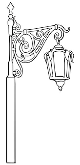 Old lantern, street lighting, black and white linear drawing.