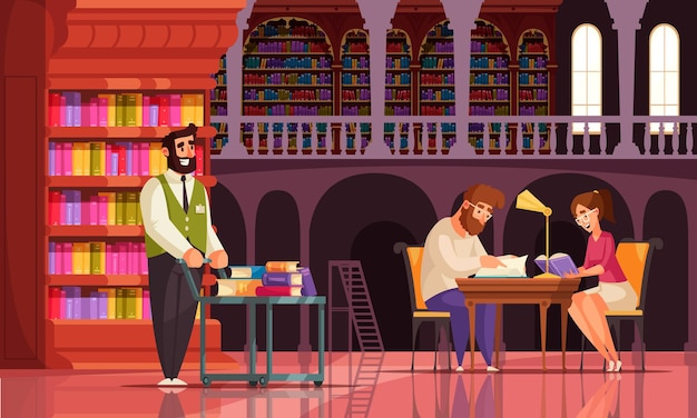 사서와 독자의 책장 빈티지 캐릭터가있는 갤러리보기가있는 오래된 도서관 책 구성