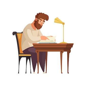 Композиция интерьера старой библиотеки с человеческим характером бородатого мужчины, читающего книгу за столом