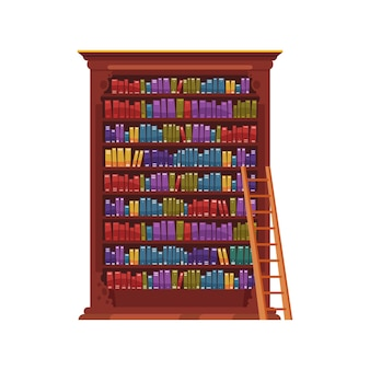 Old library interior composition with isolated image of vintage cabinet with colorful books