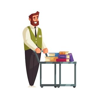 바퀴 카트와 사서의 남성 캐릭터와 함께 오래 된 도서관 인테리어 구성