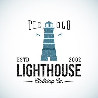 The old lighthouse nautical retro logo template.