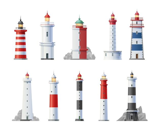 Old lighthouses towers buildings cartoon set