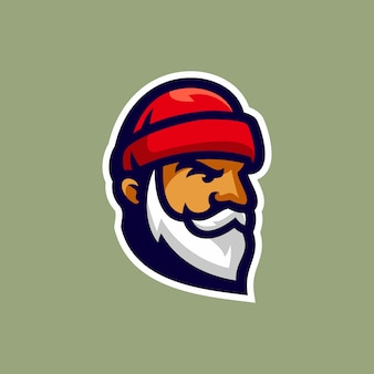 Old lumberman head logo vector illustration