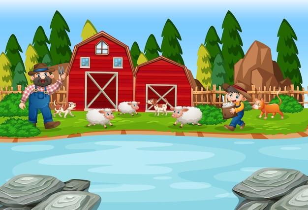 Old macdonald in a farm nursery rhymes scene