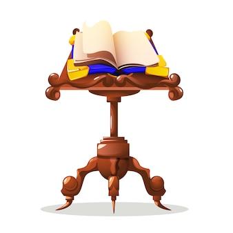 Vecchio libro magico sul concetto di cartone animato tavolo con incantesimo