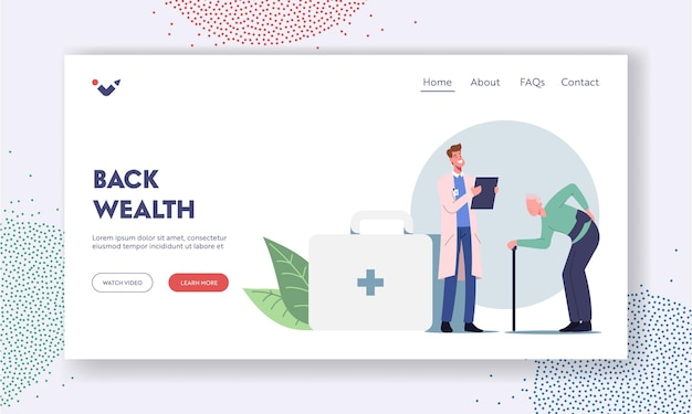 Old male character visiting doctor for sore back treatment landing page template. backache and lumbago disease symptoms diagnosis, aged man suffer of spinal pain. cartoon people vector illustration