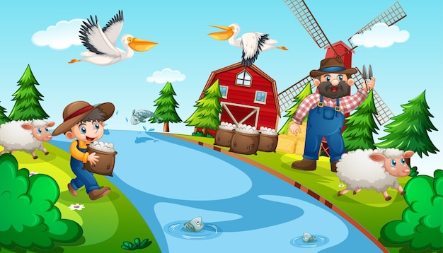 動物のいる農場の老人と子供