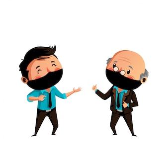 У старика и мужчины в маске физическое дистанцирование по новой норме