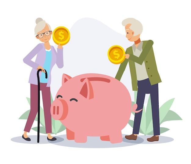 돼지 저금통에 돈을 절약하는 노인과 늙은 여자. 경제 및 재정적 독립, 돈 개념 절약, 은퇴 생활. 평면 벡터 2d 만화 캐릭터 그림.