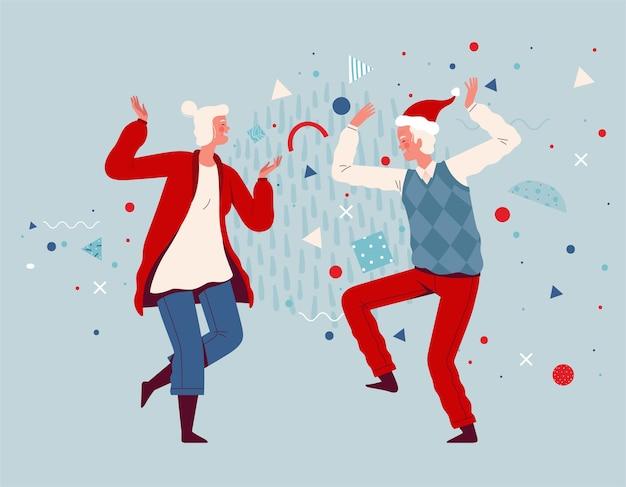 노인과 여성이 함께 춤을 추고 크리스마스와 새해를 축하합니다. 즐거운 조부모. 평면 만화.