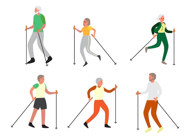 Старик и женщина вместе занимаются скандинавской ходьбой и т. д. пенсионеры, ведущие здоровый образ жизни.