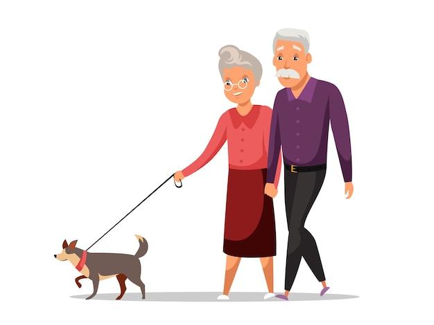 Старик и женщина, муж и жена на прогулке с собакой