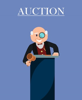Old man auctioneer with wooden gavel and monocle.