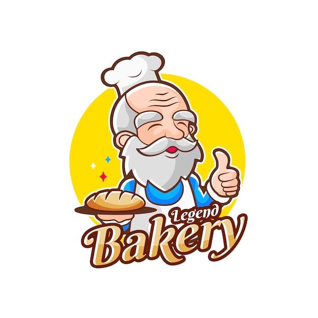 전설 베이커리 숍을위한 노인 베이커리 요리사 로고 프리미엄 벡터