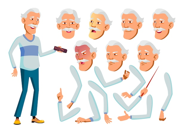 Old man character. asian. creation constructor for animation. face emotions, hands.
