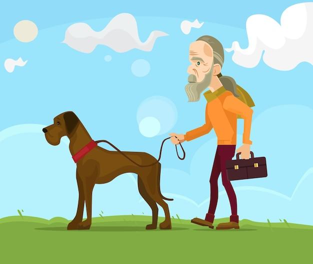 犬と一緒に歩く老人キャラクター。フラット漫画イラスト