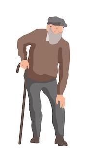 Старик персонаж гуляет с палкой на белом