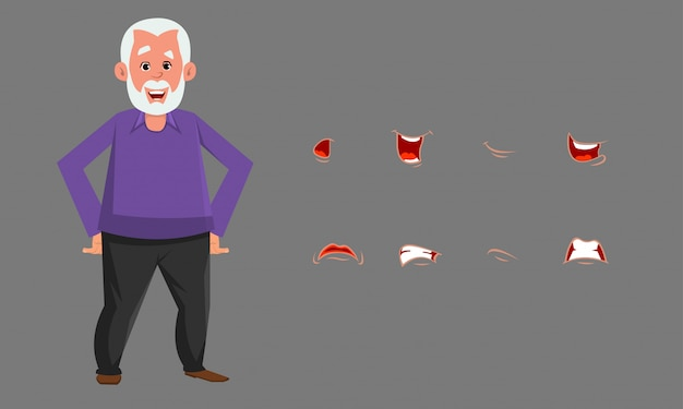 Old man character with different emotion or expression set.