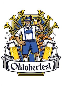 Old man cheerful enjoying oktoberfest