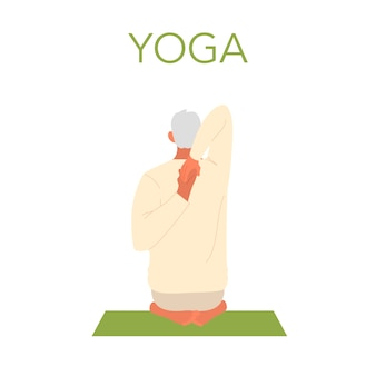 Old man doing yoga. asana or exercise for senior. physical and mental health. body relaxation and meditation. retired person training. isolated flat illustration