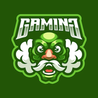 Old man gaming logo mascot