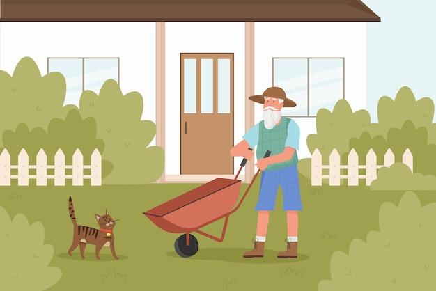자신의 정원에서 일하는 노인 정원사 농부