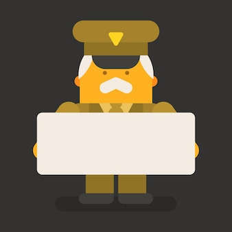 Old man general military holding blank sign. vector character. vector illustration