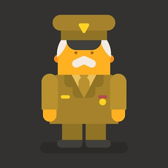 Old man general military. vector character. vector illustration