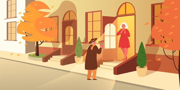 노인은 아내에게 꽃을 준다. 노부부는 함께 시간을 보냅니다. 행복 한 할아버지와 할머니는 은퇴에. 삽화