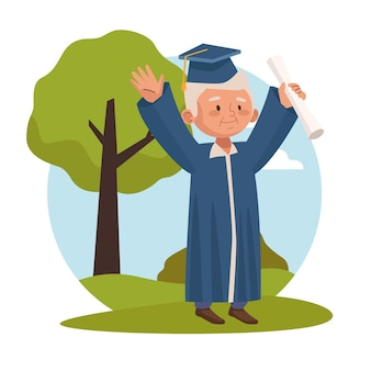 Old man graduating active senior character