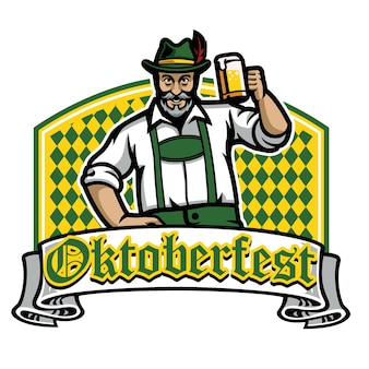 Old man happy oktoberfest badge