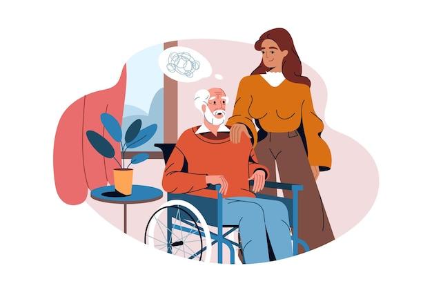 車椅子の老人は認知症またはアルツハイマー病に苦しんでいます