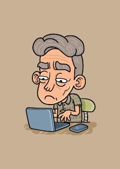 Old man on laptop illustration