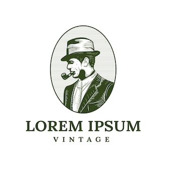 Old man logo with cigar cigarette in vintage style