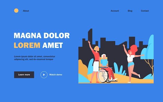 Встреча старика с семьей. инвалидная коляска, дочь, внучка плоской иллюстрации